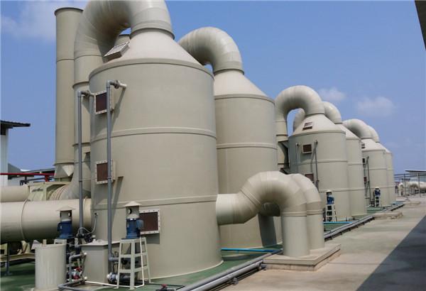 龙泰环保:立式酸碱废气洗涤塔设备最新安装案例